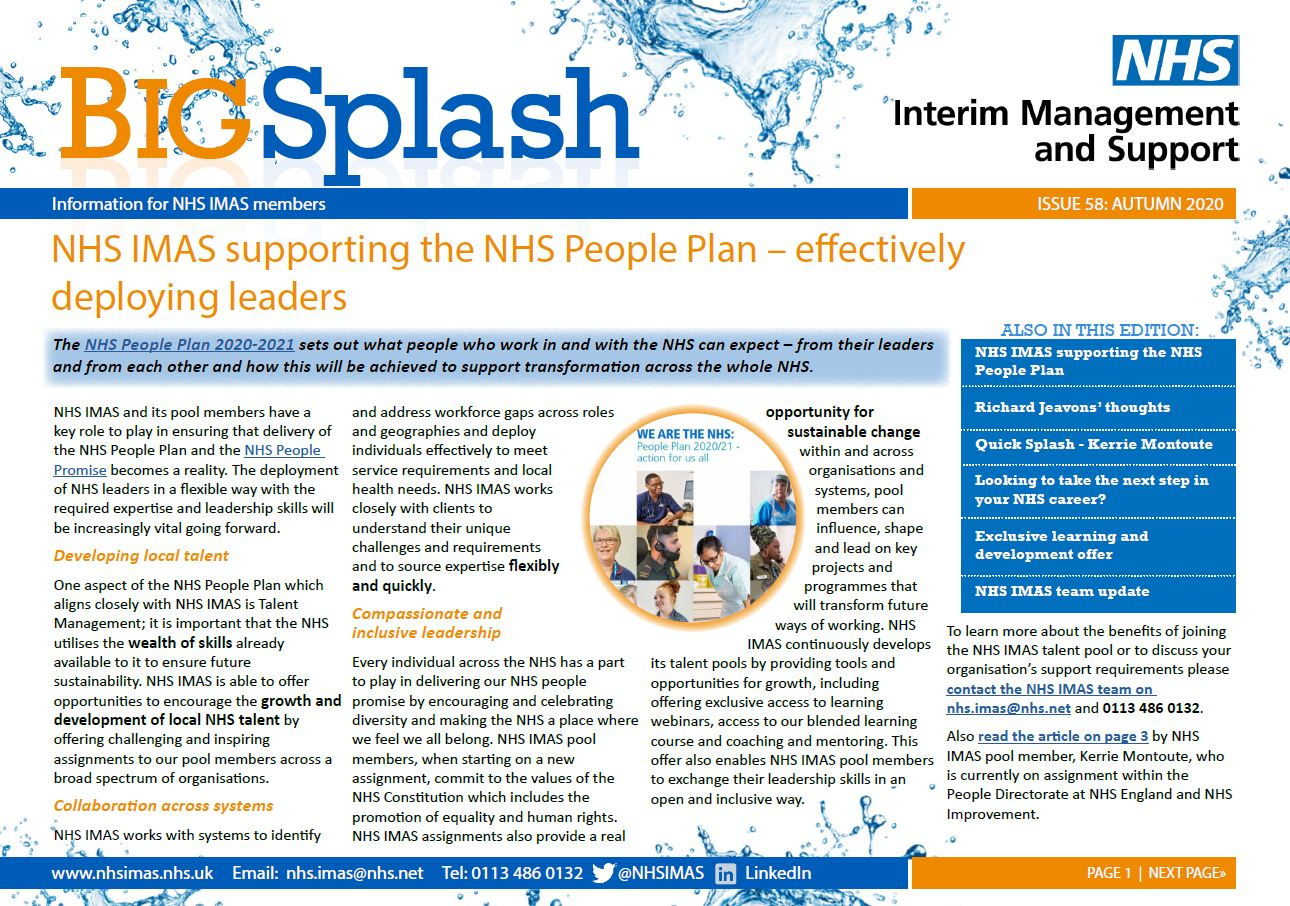 Image of the front cover of Edition 58 of the NHS IMAS newsletter Big Splash
